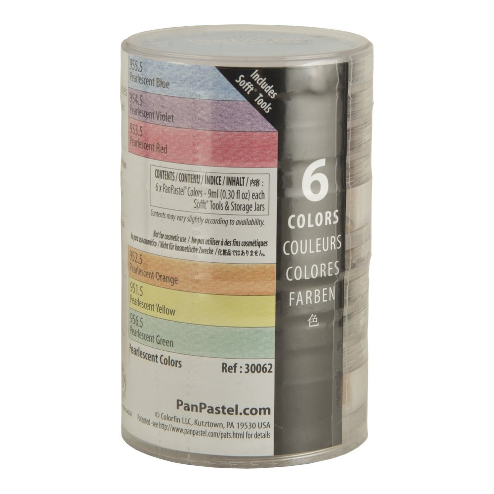 Colorfin 136199 PP30062 PanPastel Pearlescent Artist Pastels Set, 9ml, Yellow, Green, Orange, Blue, Red and Violet, 6-Pack
