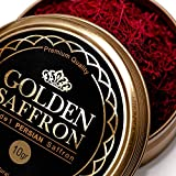 Golden Saffron, Finest Pure Premium All Red Saffron Threads, Grade A+, Highest Grade (10 Grams)