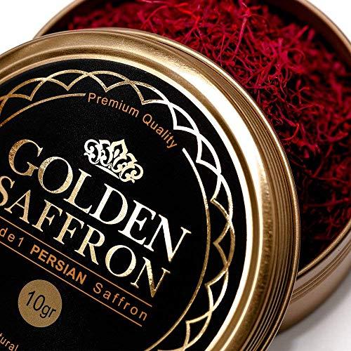 Golden Saffron, Finest Pure Premium Super Negin All Red Saffron Threads, Grade A+, Highest Grade Saffron For Tea, Paella, Rice, Desserts, No artificial, No Preservatives (10 Grams)