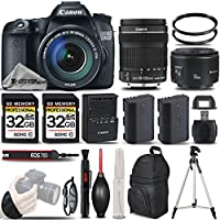 Canon EOS 70D DSLR Camera + Canon 18-135mm IS STM Lens + Canon 50mm 1.8 II Lens + Backup Battery + 2 Of 32GB Class 10 Memory Card + UV Filter Filter + Wrist Grip - International Version