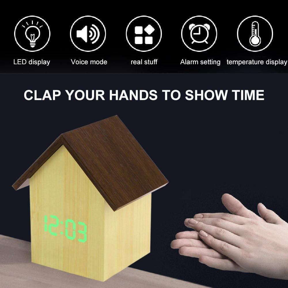 FPRW Reloj Despertador Digital LED, Reloj de Escritorio de termómetro con Pantalla de Tiempo electrónico de la casa de Madera, decoración del hogar del Dormitorio, Verde