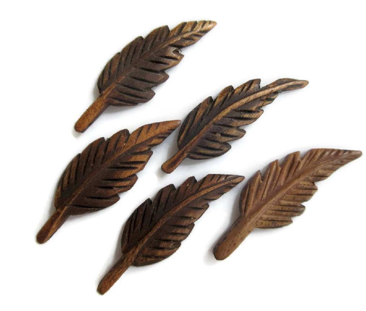 50 Pieces Mango Wood Hand Carved Feather Pendant And Necklace, Wooden Feather Pendant Charms, GDS1043/5 (50 Pieces)