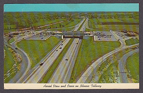 Aerial View And Oasis On Illinois Tollway Il Postcard 1969