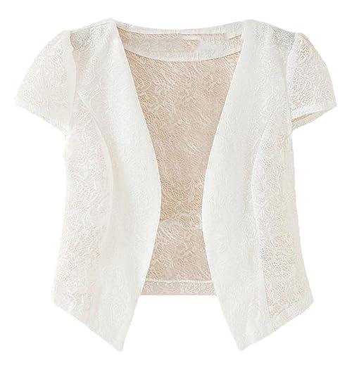 MLG Women Hollow Lace Short Sleeve Thin Cardigan Sunscreen Shrug ...