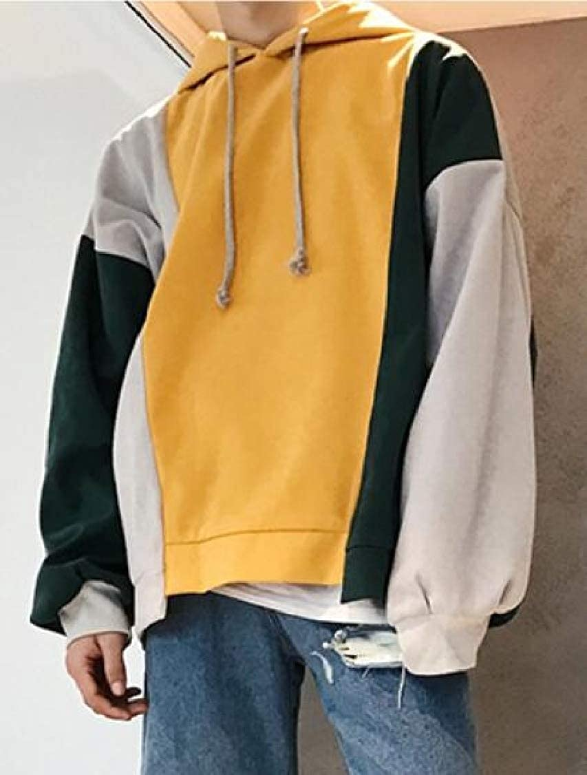 Hajotrawa Men Irregular Drawstring Contrast Color Drop Shoulder Sleeve Simple Hooded Sweatshirts