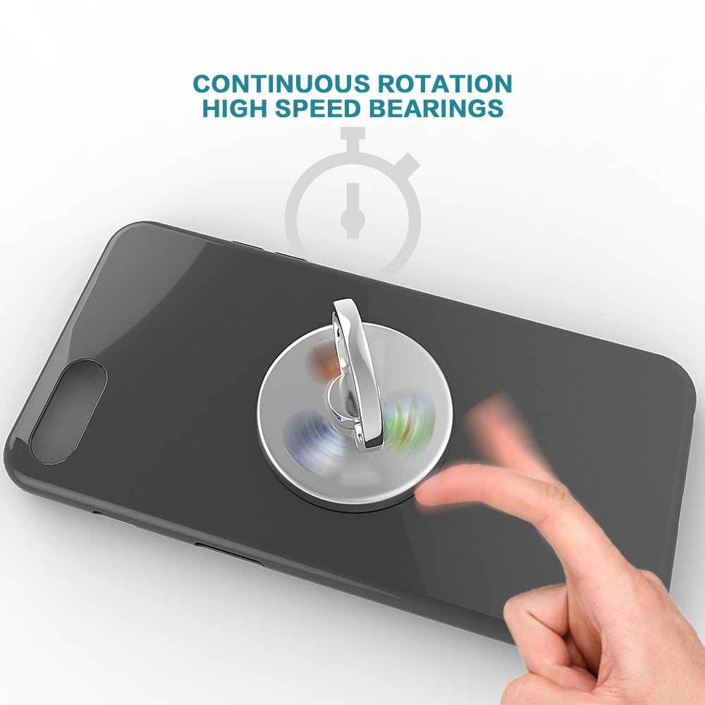 Ring Stands with Hand Fidget Spinner Knob Portion Function for Smart Cellphone Mount (Silver)