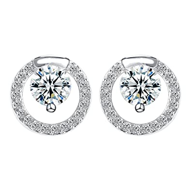 05cb477ec White Gold Studs made with Crystal Round Stud Earrings for Women Girls:  Amazon.co.uk: Jewellery