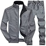 DUNKINBO Mens Athletic Full Zip Fleece Tracksuit Jogging Sweatsuit Activewear (Deep grey3,L)