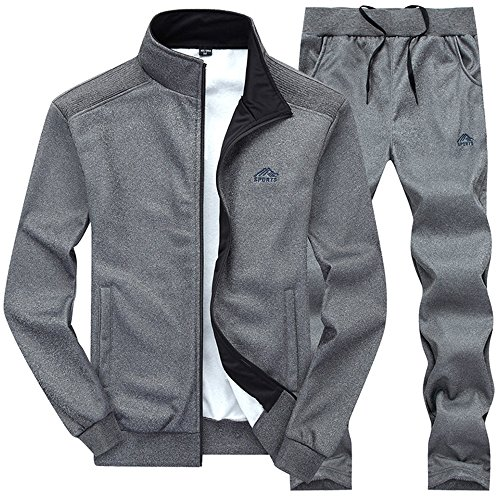 Gopune Mens Athletic Full Zip Fleece Tracksuit Jogging Sweatsuit Activewear (Deep grey3,L)