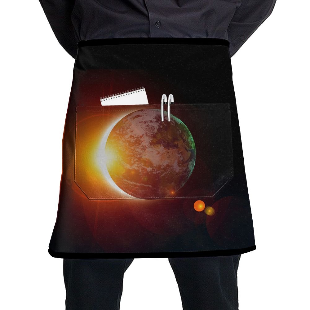 Jaylon Waist Short Apron Half Chef Apron Solar Eclipse Sun Earth Cooking Apron Pockets Home Kitchen Cooking Pinafore