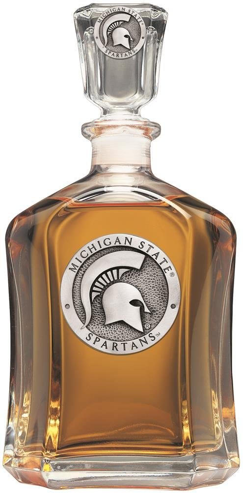Michigan State Spartans Glass Capitol Decanter (Spirit Holder) 24 oz - NCAA College Athletics Heritage Pewter