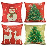 Homar Set of 4 Christmas Theme Decorations Cotton Linen Pillowcase Throw Pillow Case Cushion Cover with Hidden Zipper Perfect for Home Decorative