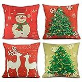Homar Set of 4 Christmas Theme Decorations Cotton Linen Pillowcase Throw Pillow Case Cushion Cover with Hidden Zipper Perfect for Home Decorative