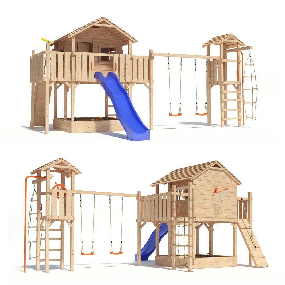 FANTASIO Baumhaus Stelzenhaus Spielhaus mit Schaukel Kletterturm Rutsche auf 1,50 m Podesthöhe