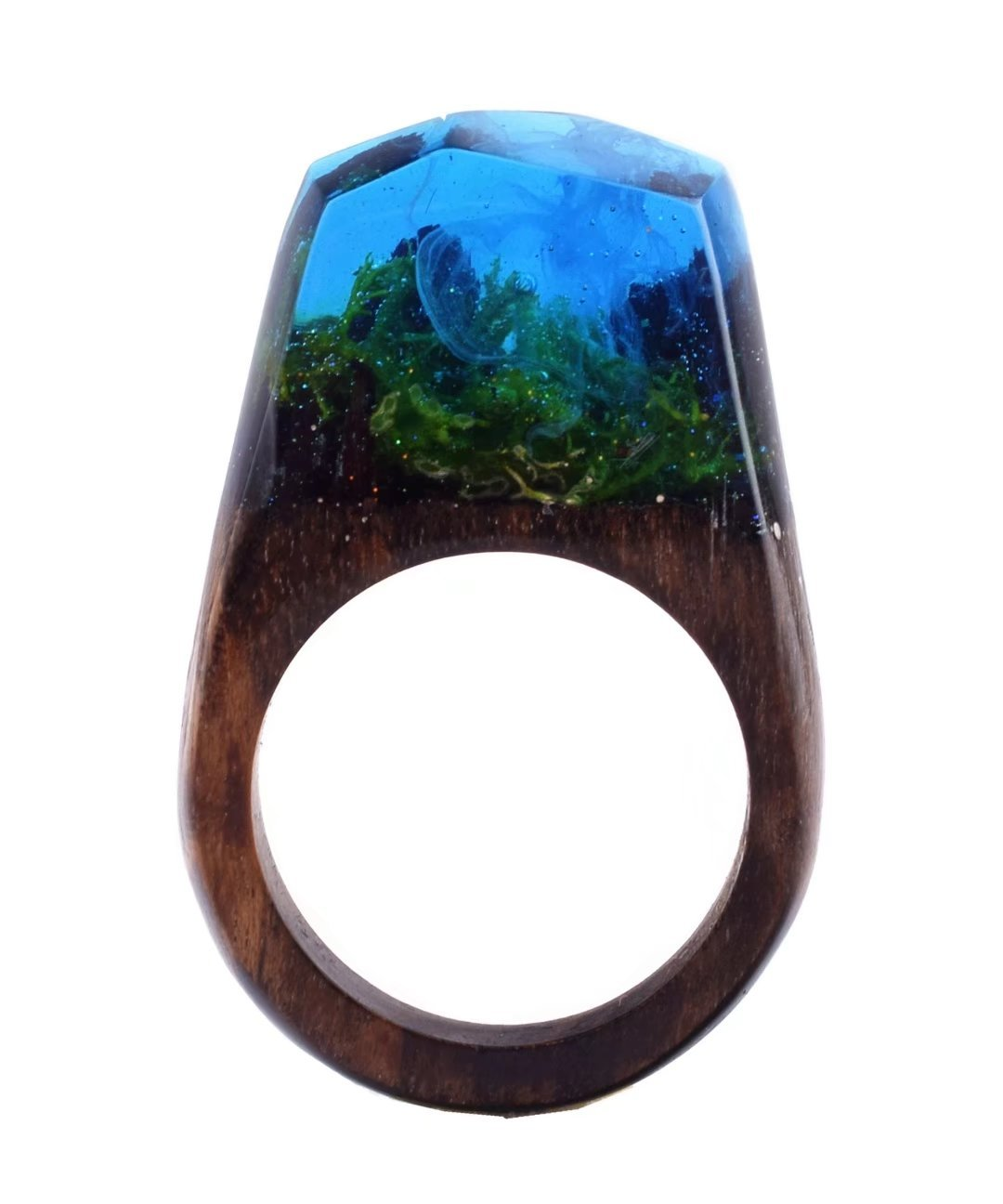 Heyou Love Handmade Wood Resin Ring With Secret Forest Scenery Landscape Inside Jewelry
