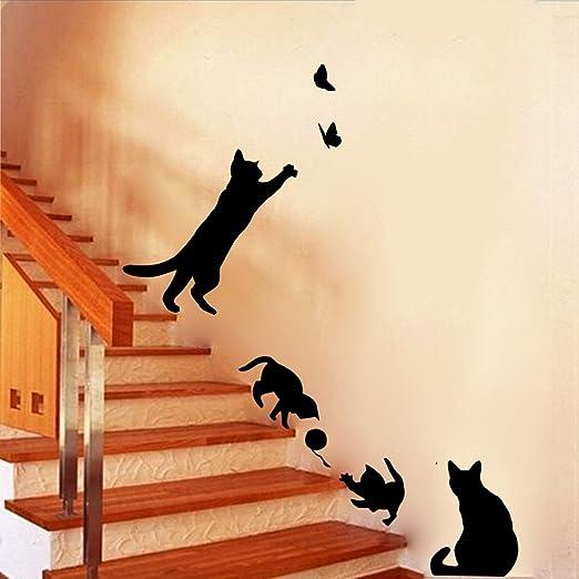 Winhappyhome Juego traviesa linda gatos negros extraíble pegatinas de pared para el dormitorio de la sala Escaleras Calzada Telón de fondo de la decoración: Amazon.es: Hogar