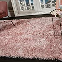 Shaggy Rug Super Plush Extra Large Rugs Living Room With Shimmering Sparkle Glitter Strands Fluffy 55mm Thick Pile Height Modern Area Rugs Blush Pink 160cm X 230cm 5 5ft X 7 5ft Amazon Co Uk