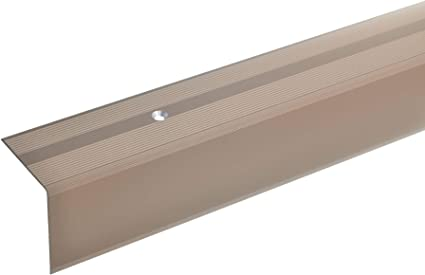 Treppenstufen-Profil aus Alu 135cm Gelochtes Stufenkanten-Profil Treppenkanten-Profil 42x40mm silber * Rutschhemmend * Robust * Leichte Montage acerto 51074 Aluminium Treppenwinkel-Profil