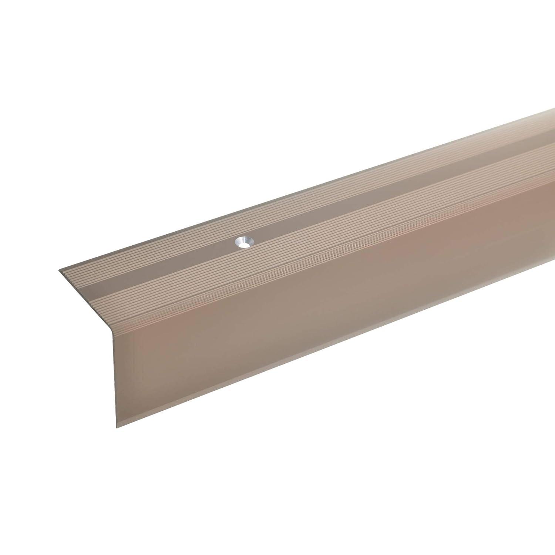 acerto 51073 Profil dangle descalier en aluminium profil de marche en aluminium Profil dar/ête descalier 100cm bronze fonc/é * Antid/érapant * Robuste * Montage facile 42x40mm