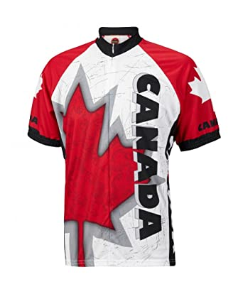 91dc77f22 Amazon.com  World Jerseys Canada Maple Leaf Men s Cycling Jersey Red ...