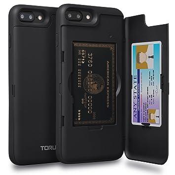 TORU CX Pro Funda iPhone 8 Plus Carcasa Cartera con Tarjetero Oculto y Espejo para Apple iPhone 8 Plus/iPhone 7 Plus - Negro Mate