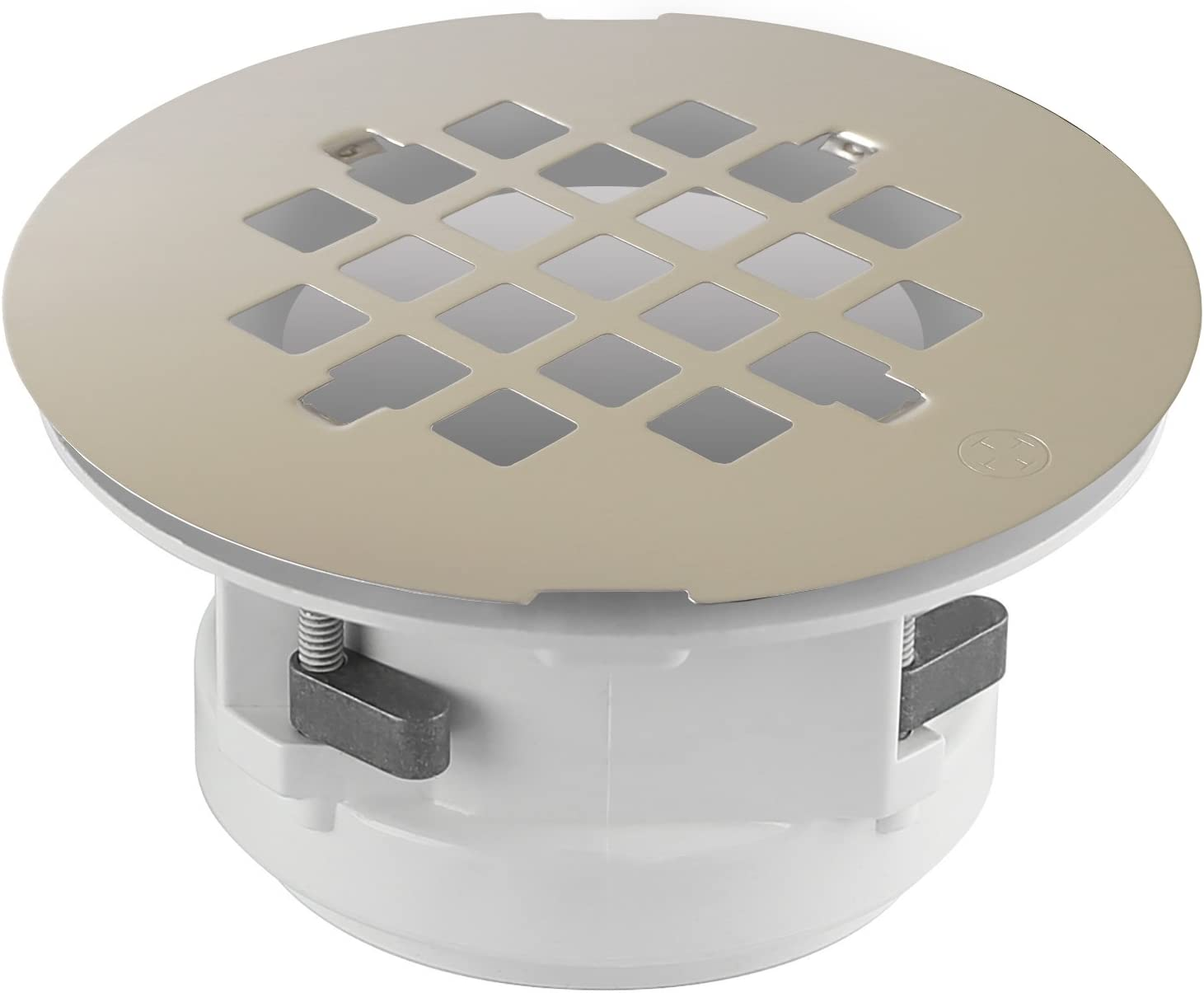 Wingtite Shower Drain, Installs from the Top, Brushed Nickel