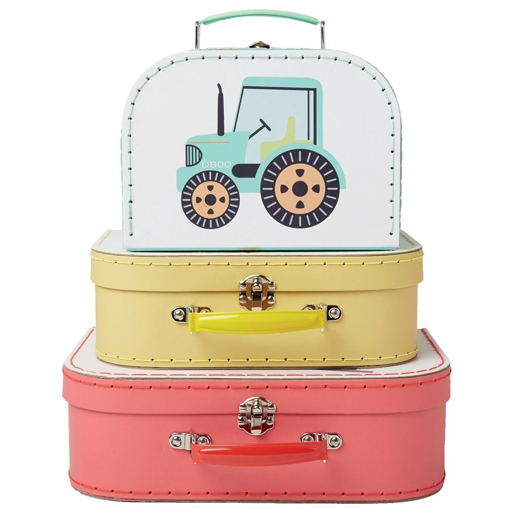 Sass & Belle Collection - Illustrated Trucks Storage Suitcases Set of 3
