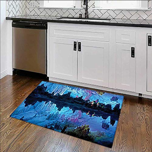 Soft Non Slip Absorbent Bath Rugs Decorations Illuminated Reed Flute Cistern Artifical Lights Crystal Palace Myst Cave Image Machine Washable Large Mats Materials -