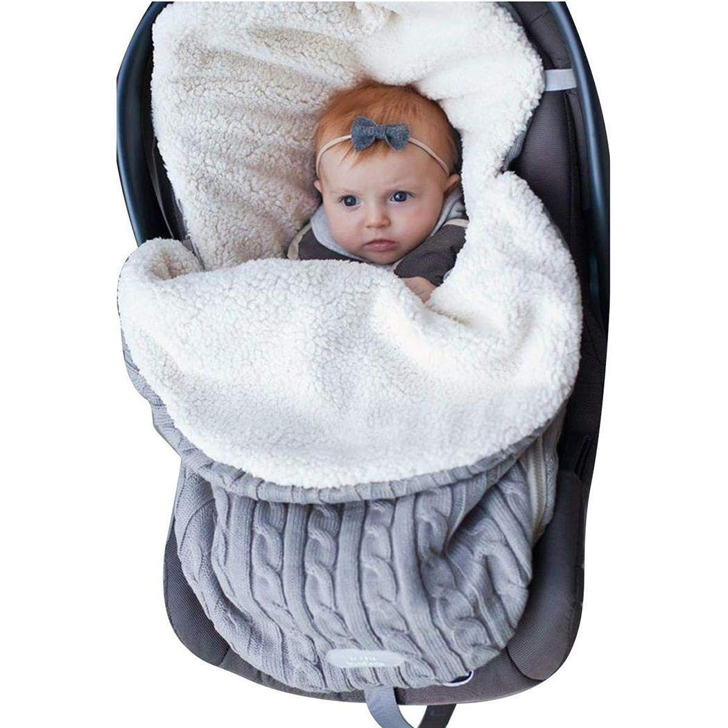 Cidere Baby Carriage Warm Sleeping Bag Thick Plush Lining Knitted Bag Sleeping Bags
