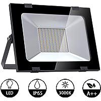 100W Luces de Inundación de LED 8000LM 3000K Blancos Cálidos Focos Brillantes IP65 Iluminación Exterior Ultrafina Impermeable para Jardín, Escenario, Paisaje