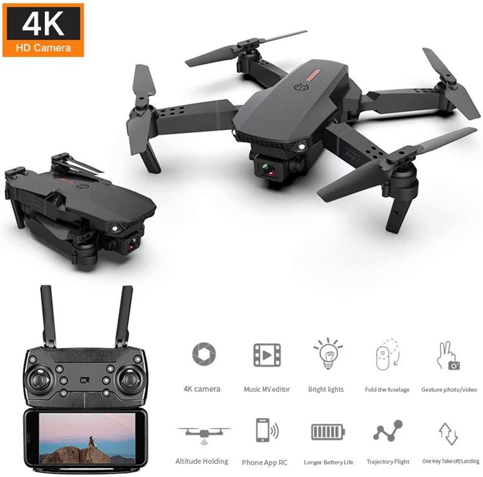 QSs-Ⓡ Drone PortáTil con CáMara 4K HD, HelicóPtero CuáDruple Plegable, Modo Sin Cabeza Altitude Hold, Recargable, Sensor G, Vuelo De Trayectoria, Desplazamiento AutomáTico, para Principiantes
