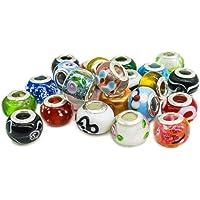50 st europeiska pärlor i glas blandade färger stora hålpärlor för armbandstillverkning gåva för flickor kvinnor