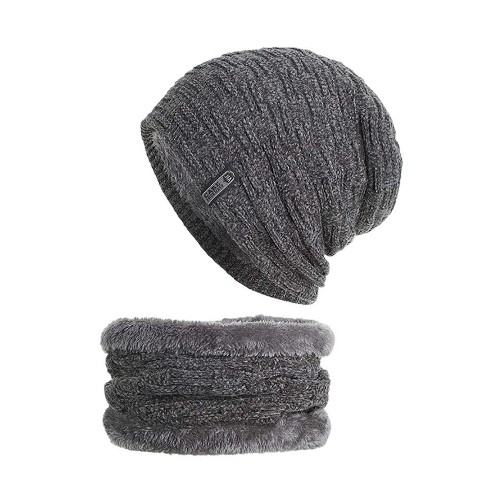 6b3ffb2db3b 2-Pieces Winter Beanie Hat Scarf Set Warm Knit Hat Thick Knit Skull Cap  Unisex at Amazon Men s Clothing store