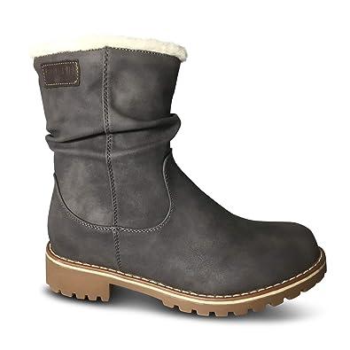 c5dffebaa77ee2 Damen Stiefel gefüttert Boots Stiefeletten Outdoor Winter Schnee Biker (36  EU