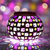 BuyYourWish Solar Power Red Blue Mosaic Colorful LED Light Garden Waterproof Glass Ball Decoration Lamp One Piece