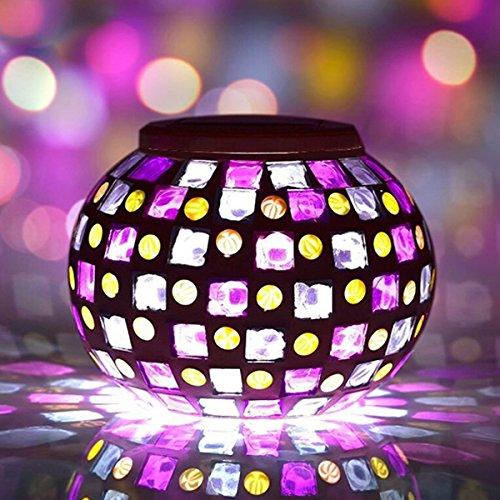 BuyYourWish Solar Power Red Blue Mosaic Colorful LED Light Garden Waterproof Glass Ball Decoration Lamp One Piece by BuyYourWish
