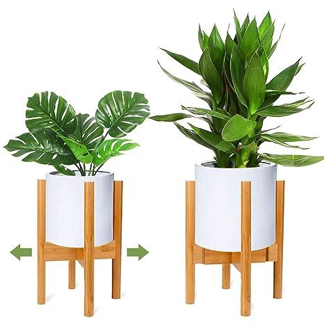Riogoo Support Pour Plantes Presentoir De Pot De Fleur En Bois Porte Plante En Bois Retro Mi Siecle Support En Pot Pour Interieur Et Exterieur