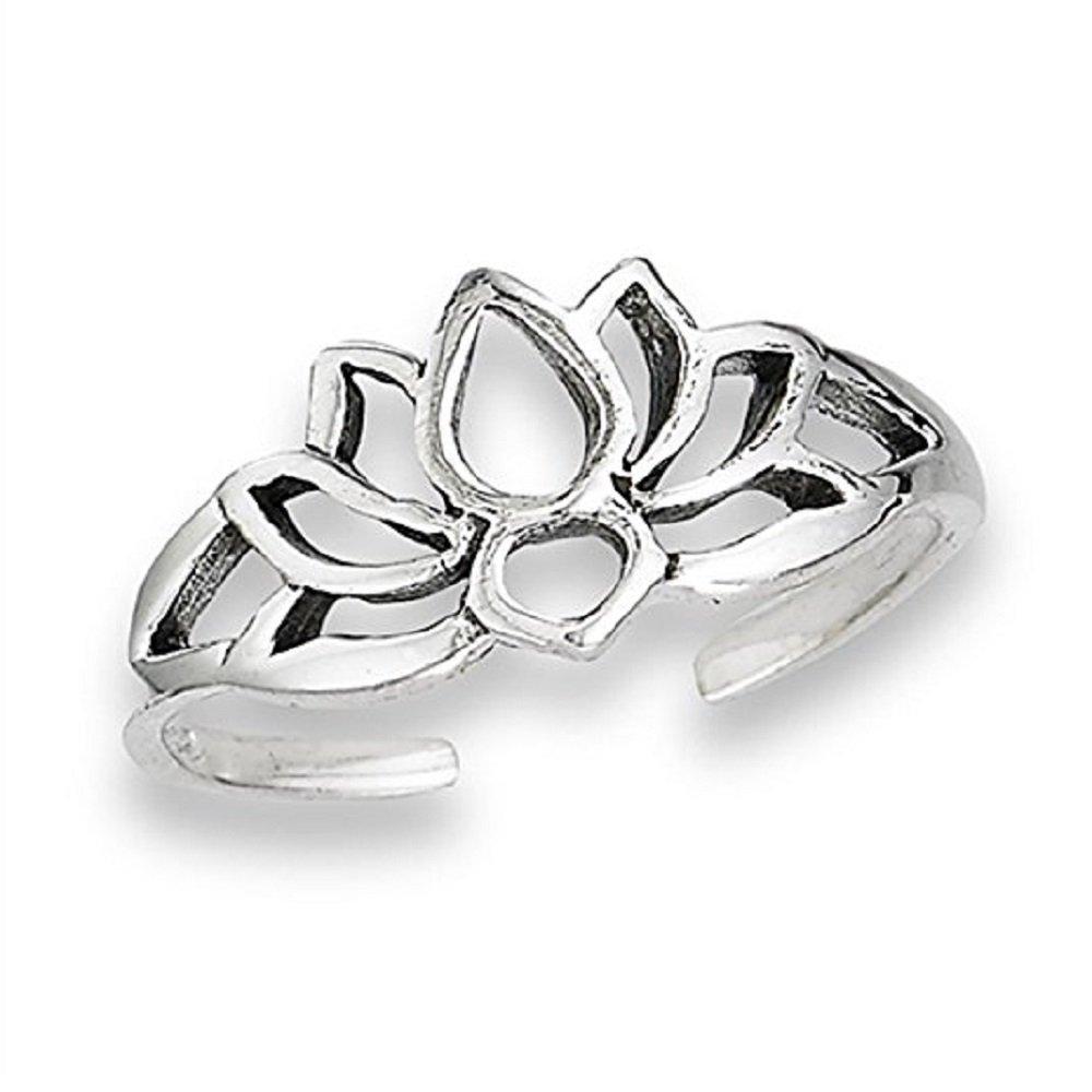 3djewels Women's 14K White Gold Fn .925 Sterling Silver Flower Lotus Adjustable Toe Ring SNSTR232