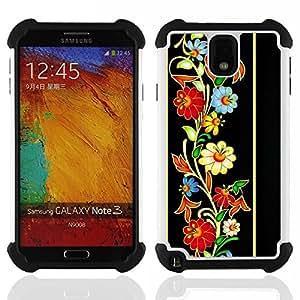 """Pulsar ( Modelo retro del Patrimonio floral de la vendimia"""" ) Samsung Galaxy Note 3 III N9000 N9002 N9005 híbrida Heavy Duty Impact pesado deber de protección a los choques caso Carcasa de parachoques"""