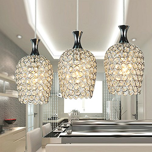 DINGGUTM Modern 3 Lights Crystal Pendant Lighting For