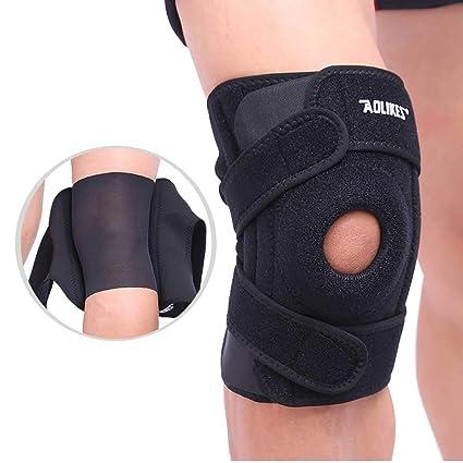 e9b2fefd4d AOLIKES Open-Patella Stabilizer Knee Support Sleeve for Arthritis, ACL,  MCL, Meniscus,Outdoor Sports,Neoprene 4 Springs & Adjustable 4 Bonding  Belts Knee ...