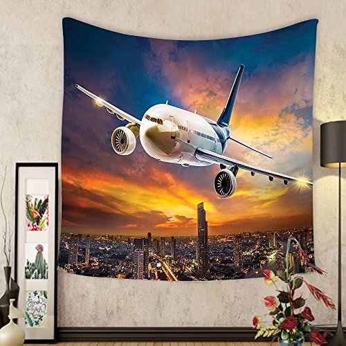 Gzhihine Custom tapestry Travel Decor Tapestry Aerial View of Airport with Plane on Air Night Scene over City Sunset Image for Bedroom Living Room Dorm 60 W X 40 L - Outlet Airport Chicago