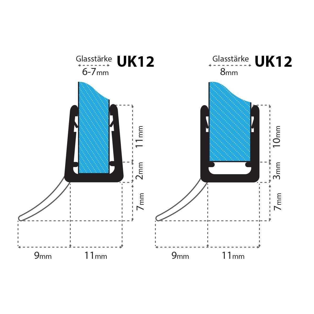 pour verre /épaisseur 5mm// 6mm// 7mm// 8mm pour quadrant douche arqu/é 40cm UK12 Joint d/étanch/éit/é de remplacement pour douche circulaire//ronde