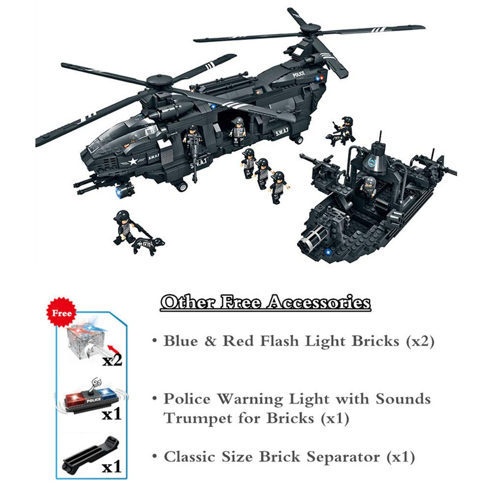 WOMA Equipo de policía Swat militar Helicóptero y barco modelo construcción conjuntos Lego compatible ladrillos construcción juguetes con caja de ...