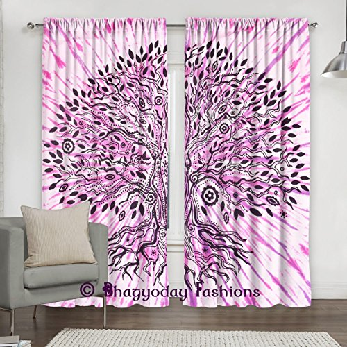 Exclusive Mandala Tie Dye Tree Of Life Tapestry, Boho Curtain Panel, Window Curtain Valances Room Divider 2 Pc Panel Set, Cotton Window Treatments 84 …