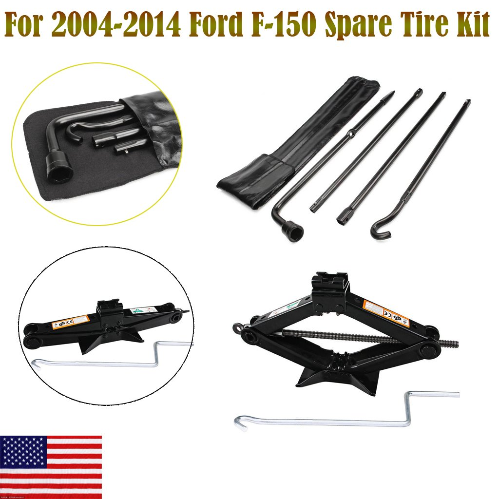 Autobaba for 2004-2014 Ford F150 F-150 Spare Tire Tool Kit and 2 Ton Scissor Jack, 2 Year Warranty