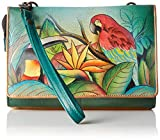 Anuschka Handpainted Leather Convertible Organizer Wristlet Clutch, Tropical Bliss, One Size