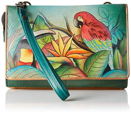 Anuschka Handpainted Leather Convertible Organizer Wristlet Clutch, Tropical Bliss, One Size by Anna by Anuschka