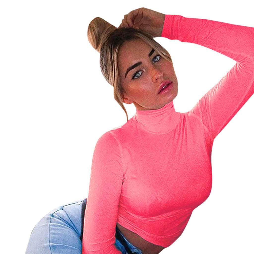 Keliay Bargain Fashion Women High Turtle Neck Leotard Crop Tops Long Sleeve T-Shirt Blouse