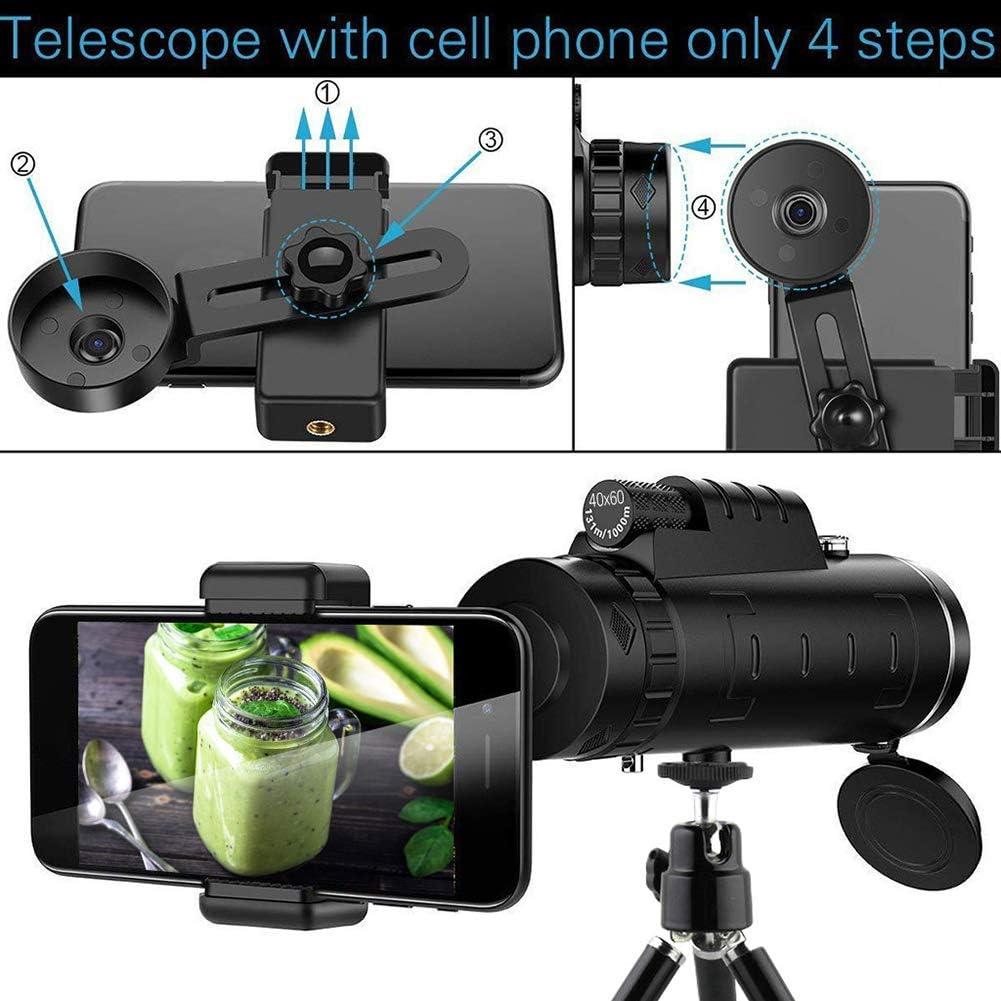 Wasserdicht Nachtsicht 40X60 HD Monokular Mit Full Optisches Prisma Und Dual-Fokus-Teleskop Beweglicher Spektive F/ür Vogelbeobachtung Sanni Monokulare